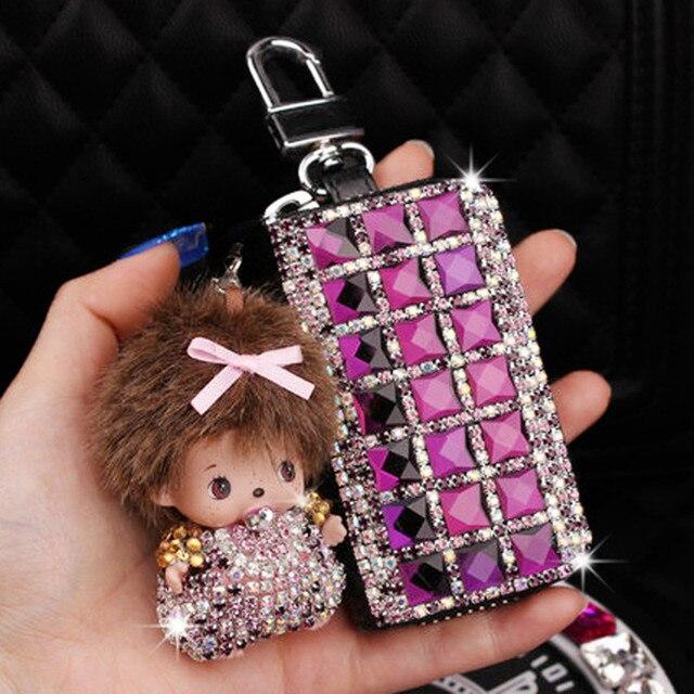 2017 new style fake Fur Pom Pom Key Chain Women Trinket  Car Key Ring  Keychain Jewelry Gift