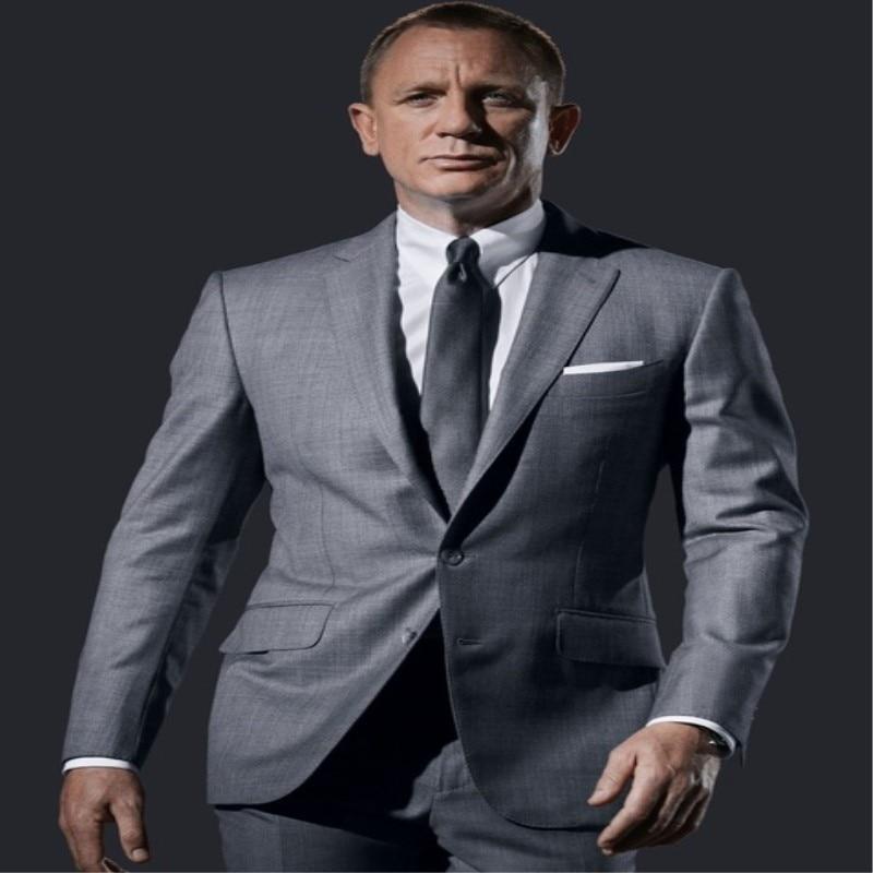 ที่กำหนดเองชายชุดสีเทาอ่อนชุดธุรกิจอย่างเป็นทางการเทเลอร์ทำเสื้อทักซิโด2ชิ้นสลิมฟิตTerno Masculino (เสื้อ+กางเกง)-ใน สูท จาก เสื้อผ้าผู้ชาย บน   1