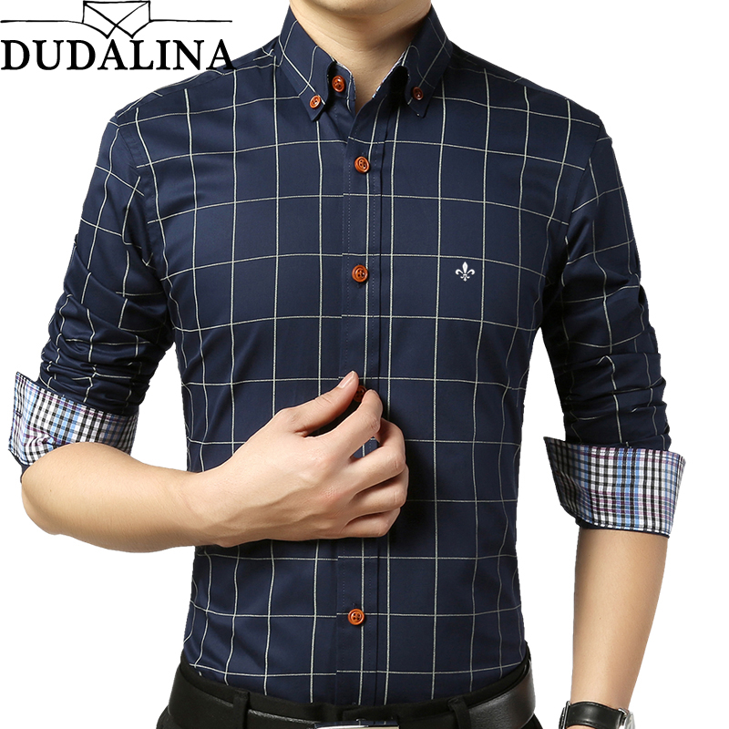DUDALINA Shirt Male Plaid Without Pocket Men Clothes Slim Fit Long Sleeve Casual Men