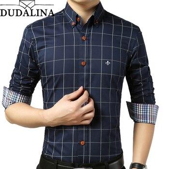 0d55e1c2371 DUDALINA рубашка мужская клетчатая без кармана Мужская одежда Slim Fit Мужская  рубашка с длинным рукавом мужская повседневная мужская рубашка Social .