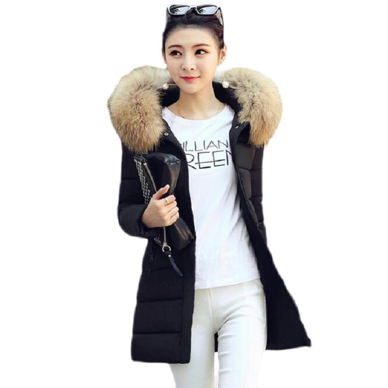 Winter jacket women 2017 new fur coat  100% real raccoon,  fashion and high fashion cotton jacket size, slim winter coat women