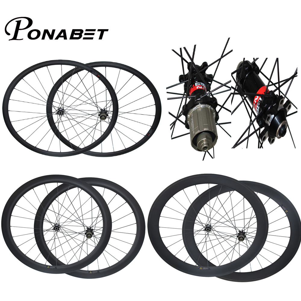 купить PONABET 700C carbon wheels 38mm/50mm/60mm/88mm bike wheelset Novatec Disc D411SB/D412SB straight pull hub from china factory по цене 18159.65 рублей