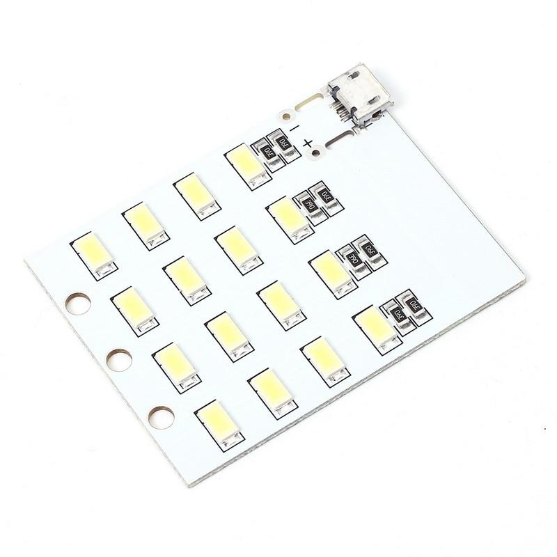 5pcs micro usb mobile power lamp 16pcs leds board emergency light precise smd 5730 white super