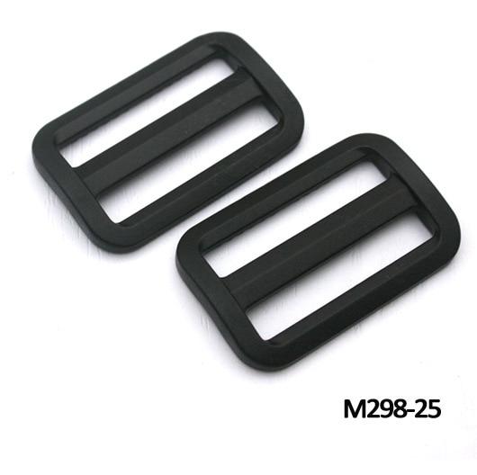 Wholesale Free shipping 100pcs black plastic adjustable buckles Tri Glide slider buckle multiple backpack straps webbing M298-25