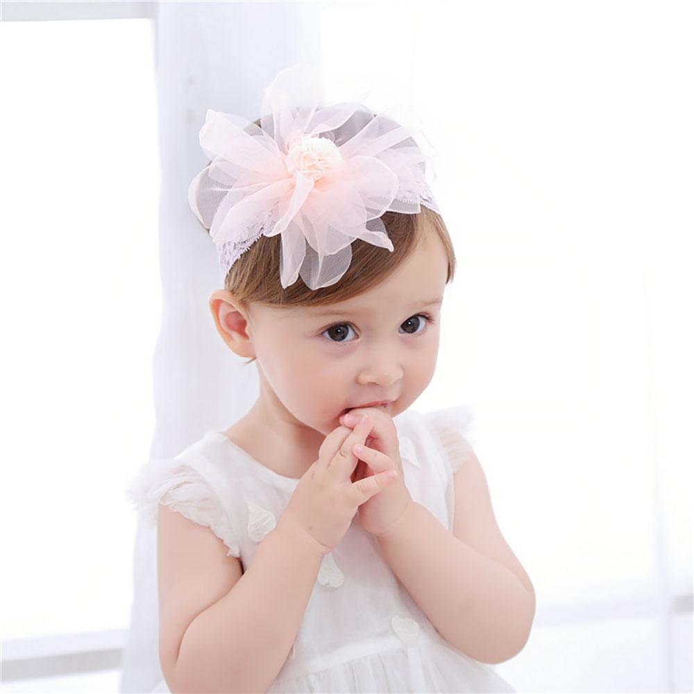 Cute Lace Flower Kids Baby Girl Toddler Headband Hair Band Headwear White Pink