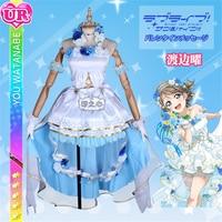 Люблю жить солнце Косплэй костюм Aqours Ватанабе вы невесты свадебное платье из тюля аниме Хэллоуин Костюмы юбочные