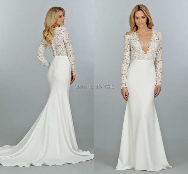 7203cb911768 2015 New Designer Deep V-Neck Long Sleeve Sheath Satin Wedding Dresses Sexy  Floor Length Appliques Bridal Gowns Custom-Made