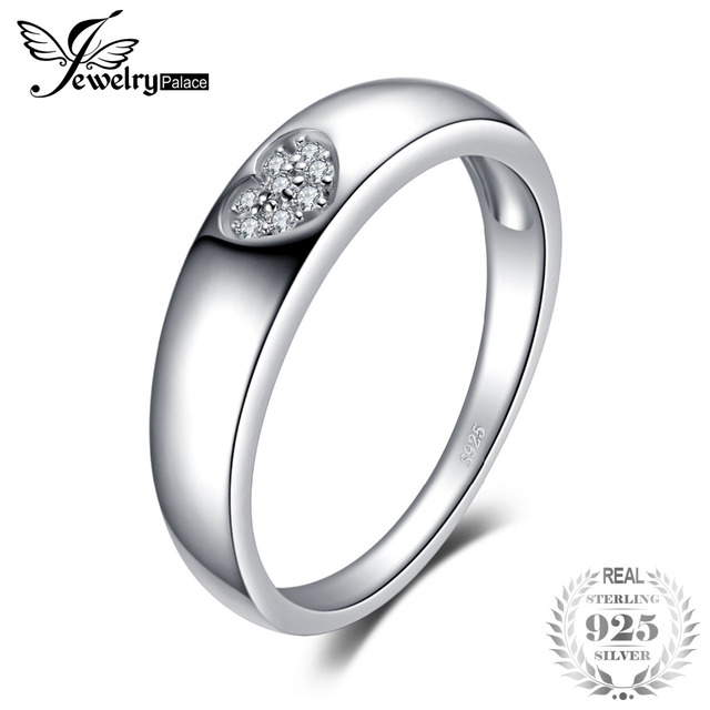 JewelryPalace Heart Cubic Zirconia Wedding Engagement Ring For Women Real 925 St