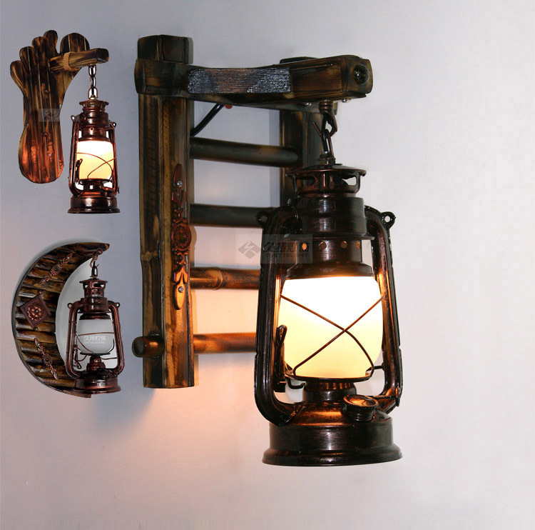 Vintage Free Shipping Bamboo Bronze Kerosene Lamp Wall