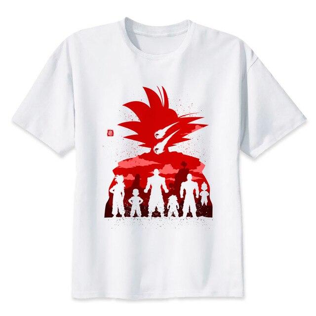 300cdc7c31dff Homens TShirt Anime Japonês Dragon Ball Super Saiyan goku legal t camisa  branca ocasional Dos Desenhos