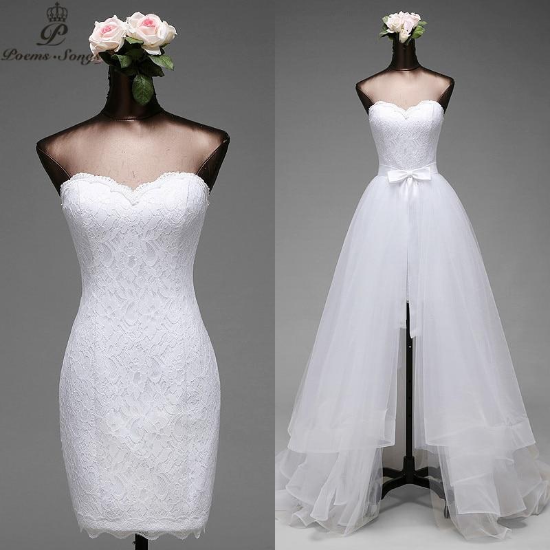 Poemssongs High Quality Mermaid Wedding Dresses 2020 Detachable Train Fives Layers Of Silky Organza Vestido De Noivas Ball Gown
