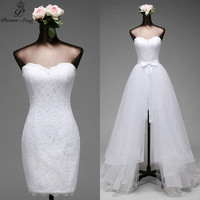 Poemssongs high quality Mermaid Wedding dresses and detachable train Fives layers of silky organza vestido de noivas ball gown