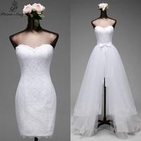 Poemssongs High Quality Mermaid Wedding Dresses And Detachable Train Three Layers Of Silky Organza Vestido De