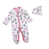 الطفل السروال القصير طويلة الأكمام الرضع داخلية القطن كارتون مطبوعة الوليد الطفلات الملابس مع غطاء لطيف القدمين بيجامة