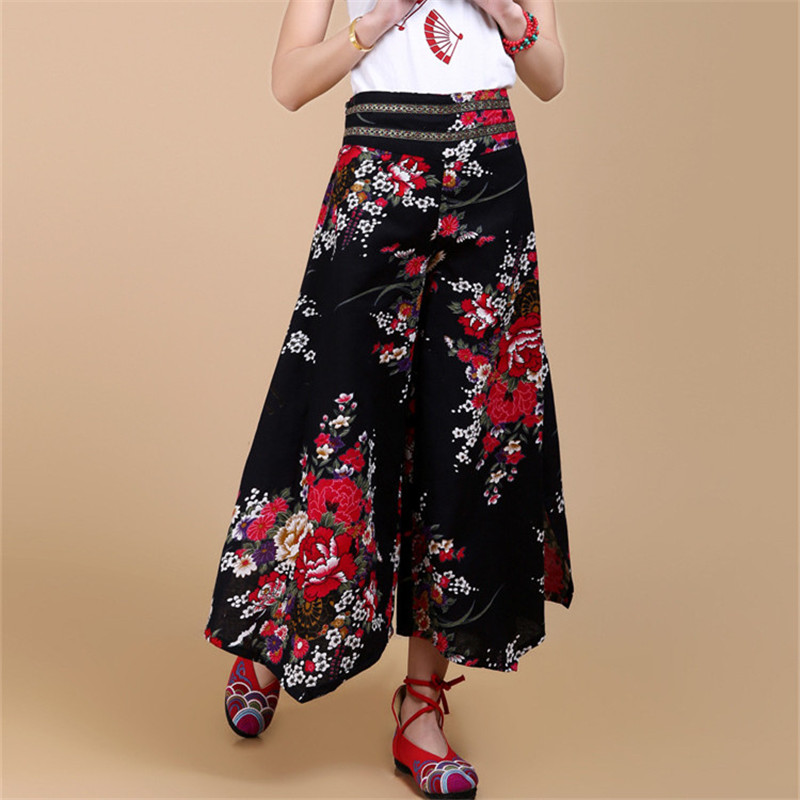 a13be802dd8 Aliexpress.com   Buy 2018 Summer Palazzo Pants Women Cotton Linen Vintage  Bottom Pantalon Femme Clothes Elegant Trousers Ethnic Casual Wide Leg Pants  from ...