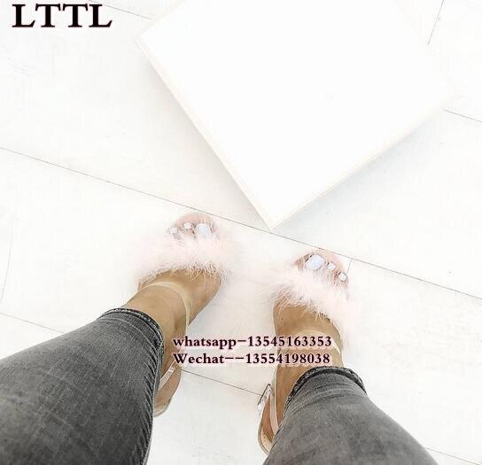 As The Picture Date Cuir Gladiateur Effacer À Pour as Toe Picture Sangle Fourrure En De Transparent Chaussures Peep Femme Femmes Hauts Talons Boucle Sandales Sexy Pvc 1rBqwx1