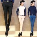 2016 Skinny Suit Pants Mens Kahaki Black Trendy Press Pencil Pants Solid Casual Slim Mens Club Pocket Monochrome Suit Trousers
