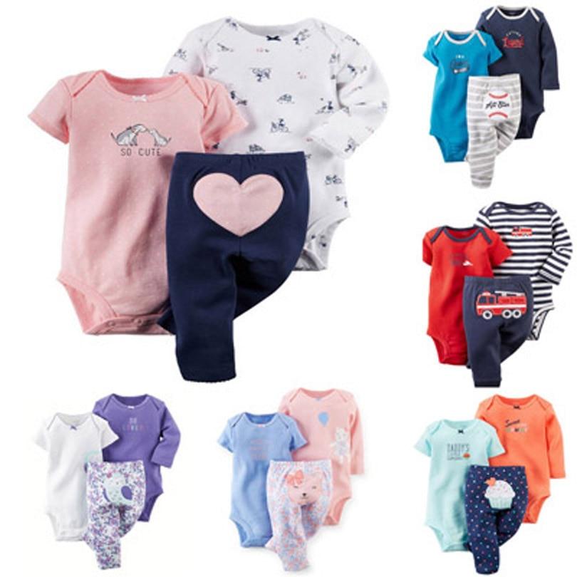 2018 חג המולד bebes ילדים תינוקות בייבי בני בנות בגדי סט, 6-24 m, ארוך שרוול בגד גוף + מכנסיים 100% כותנה, 3 pieces יילוד סט