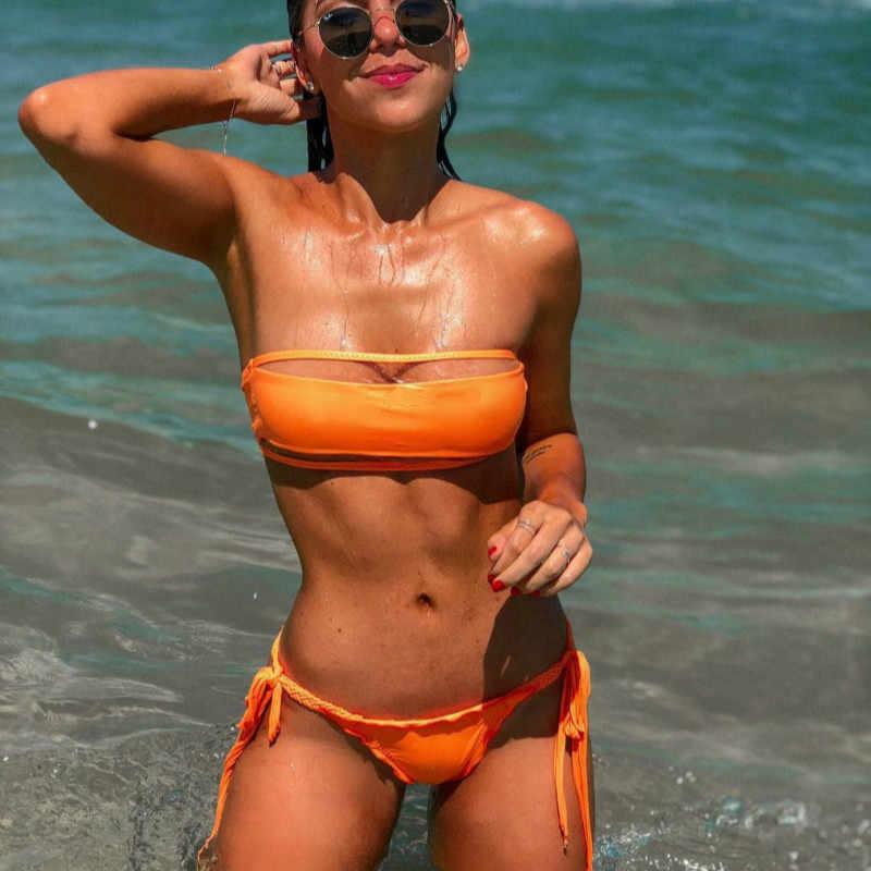 Женское бикини, Раздельный купальник, бандажный купальник для плавания, ручной работы, с оборками, 2019