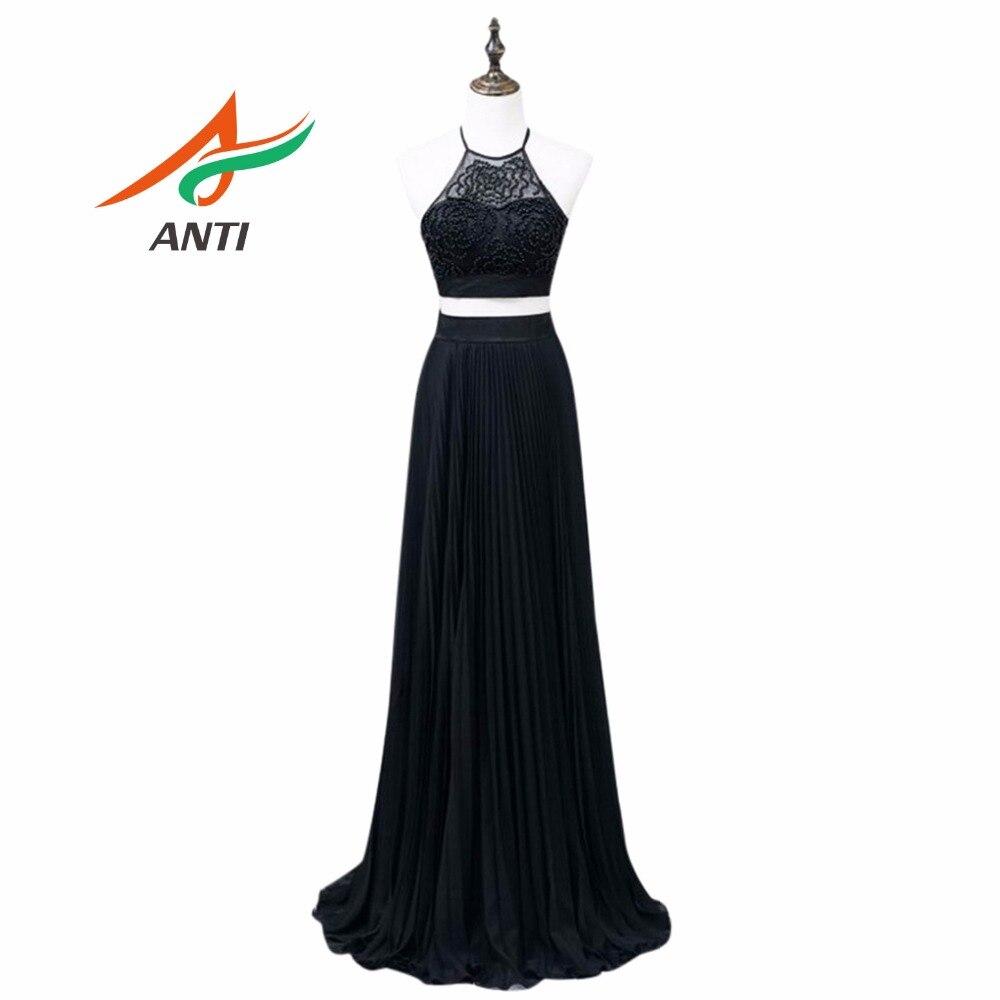 ANTI 2018   Prom     Dress   Custom Vestidos De Festa Vintage And Elegant Pearl Sleeveless Strapless Chiffon A-Line Skirt HQY6381