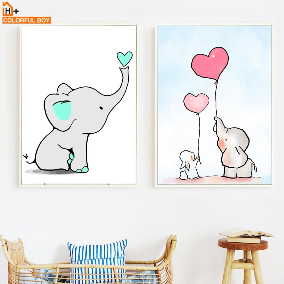 COLORFULBOY Elephant Love Balloon Wall Art Canvas Slikanje nordijskih - Dekor za dom - Fotografija 1