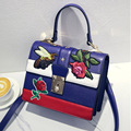 Fomous brand blue color Flap Women Bags PU Leather Lady embroidery Floral Shoulder Bags
