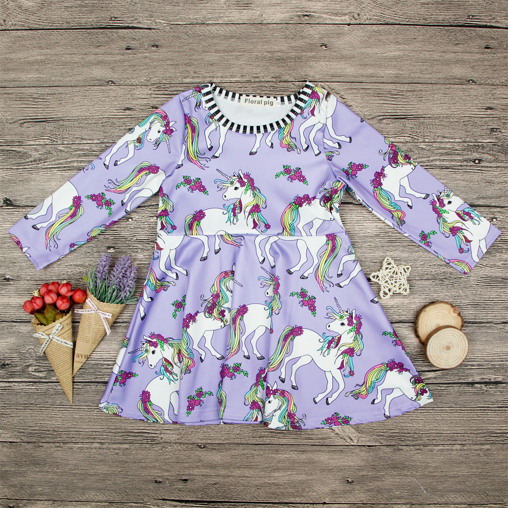 nice dress for girls a little girls dresses for girls long sleeved dress Cartoon animals ...
