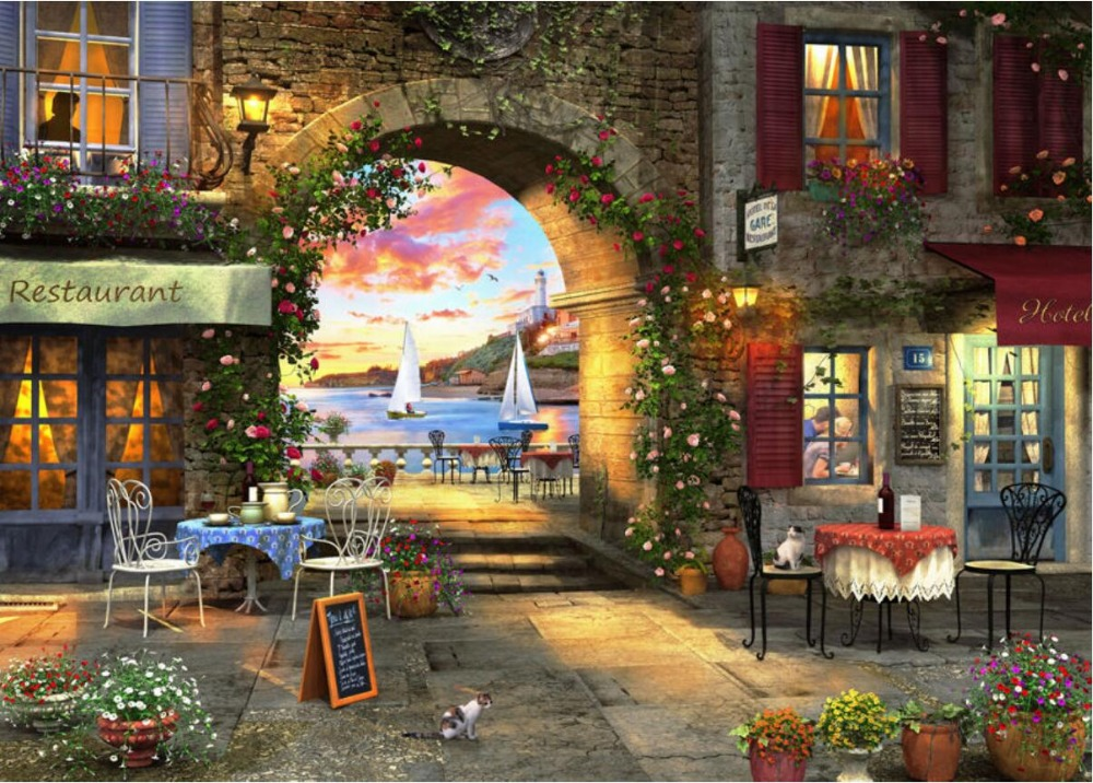 Romantic Restaurant By The Sea, Cafe  Needlework 14CT Canvas Unprinted Handmade Embroidery DMC Cross Stitch Kits DIY Home Decor
