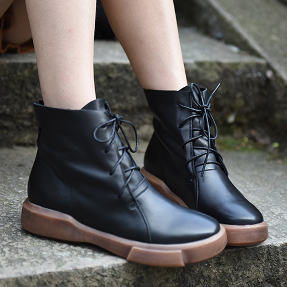 Artmu Cool Black Women Boots Genuine Leather Boots Handmade Mid-Calf Boots High Quality Lace Up Fashion Women Boots double buckle cross straps mid calf boots