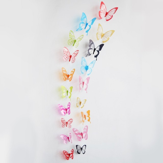 18pcs 3d black and white butterfly