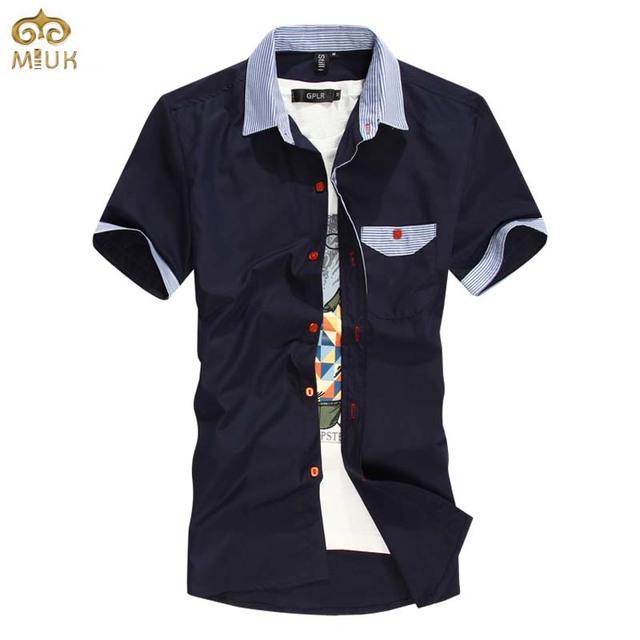 Miuk super grande tamanho sólida algodão chemise homme 6xl 5xl 5 cores navy branco marca clothing camisa verão camisa masculina 2017 nova