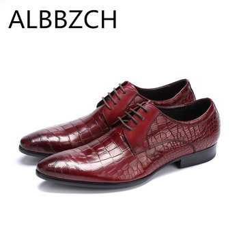 Men's embossed leather business dress shoes men fashion trend wedding shoes quality pointed toe derby work shoes large size US10