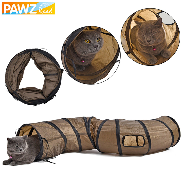 """Drop shipping """"S"""" Cat Toys Tunnel Long 1.2M Lovely Funny Design 2 Windows and 2 Holes Cat Tunnel Toys Kitten Puppy Pet Supplies"""
