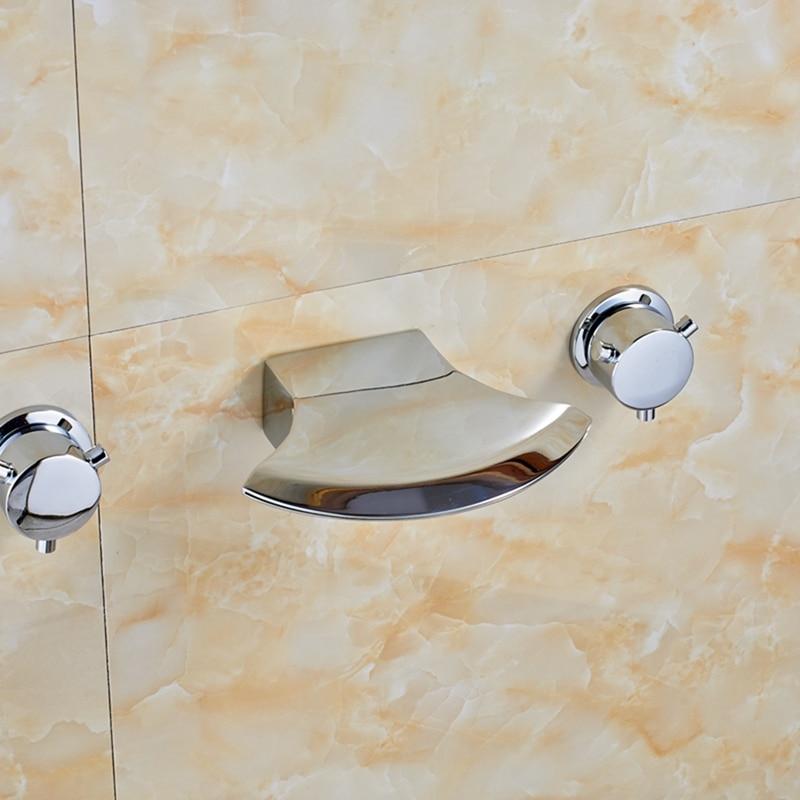 Здесь продается  New Chrome Waterfall Bathroom Basin Faucet Dual Handles Mixer Tap Wall Mount Tap  Строительство и Недвижимость