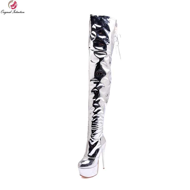 Original Intention Fashion Women Thigh High Boots Elegant Round Toe Thin High Heels Boots Silver Shoes Woman Plus US Size 3-16 original intention elegant women ankle boots platform round toe thin heels boots black white red shoes woman plus us size 3 16
