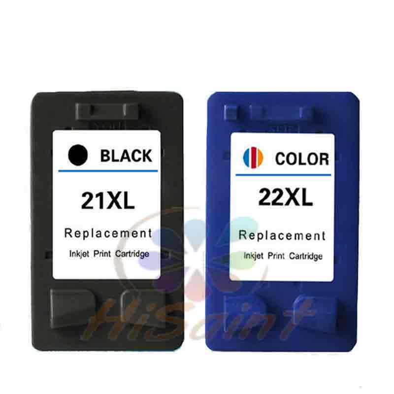 hisaint 1set for HP 21 22 ink cartridge 21xl 22xl C9351A C9352A used for DeskJet 3910 3915 3930V 3940 Printer Free shipping 1pk replaces ink cartridge for hp22 c9352a c9352an c9352an 140 suit for deskjet d2320 d2330 d2345 d2360 d2368 d2400 printers