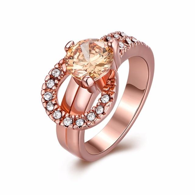Vintage Women Wedding Horseshoe Ring Engagement Fashion Jewelry Champagne Zircon Rose Gold Color Us 7