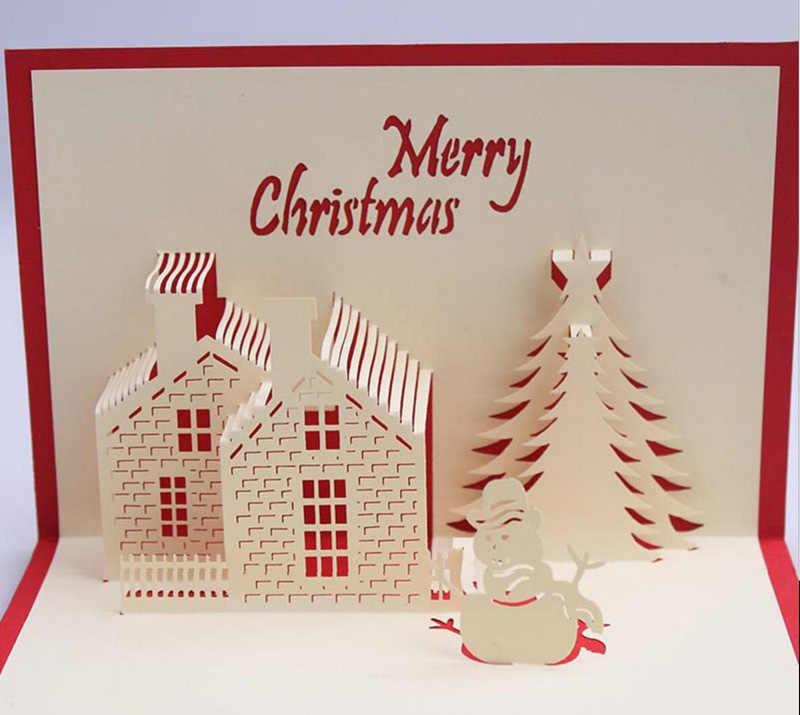 10pcs 3d Christmas Tree House Handmade Kirigami Origami For Merry Christmas Party Invitation Cards Greeding Postcard House Match House Lenshouse Dream Aliexpress