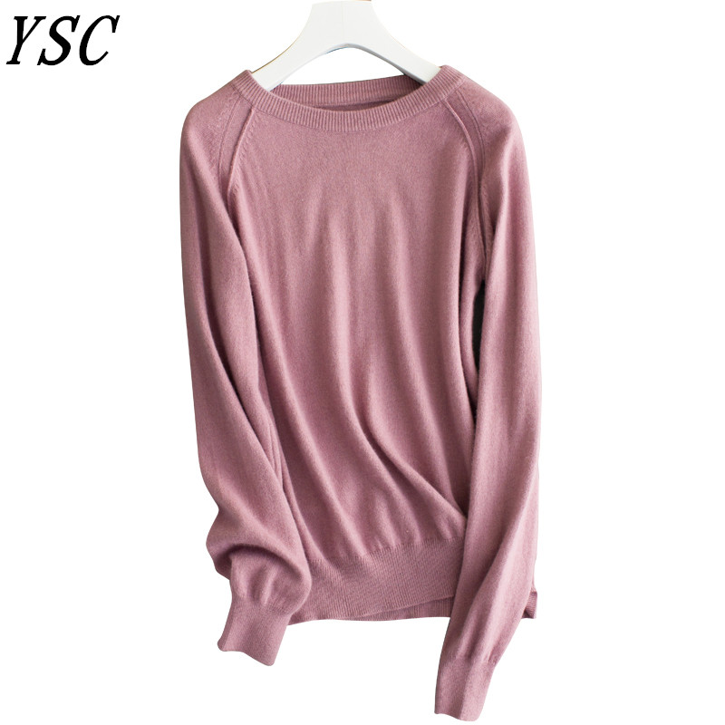 7af6bc84265 2018 winter New style Women s Knitted Cashmere Sweater Plugged shoulder Round  collar plane Solid color Pullover High-quality