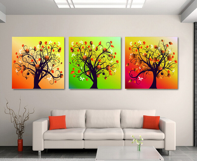 Framed High Quality Modern Printed On Canvas 3 Piece Tree Oil Painting Wall  Hanging Wall