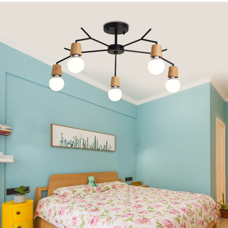 купить 3/5/8 Lights Modern Loft Living Room Bedroom LED Ceiling Lamp Nordic Dining Room Bar Wooden Ceiling Lights Free Shipping по цене 4759.83 рублей