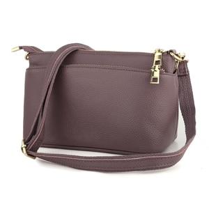 Image 3 - Женская маленькая сумка через плечо из натуральной кожи, Модный повседневный мессенджер через плечо, Женский тоут с 3 карманами на молнии