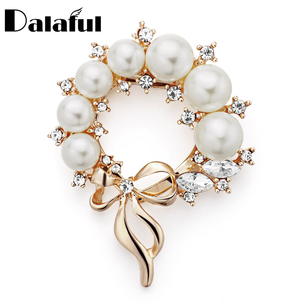 Dalaful Wedding Bridal Dual Purpose Imitation Pearl Brooches Pin Flower Rhinestone Scarf Clip Crystal Gift For Women Z026