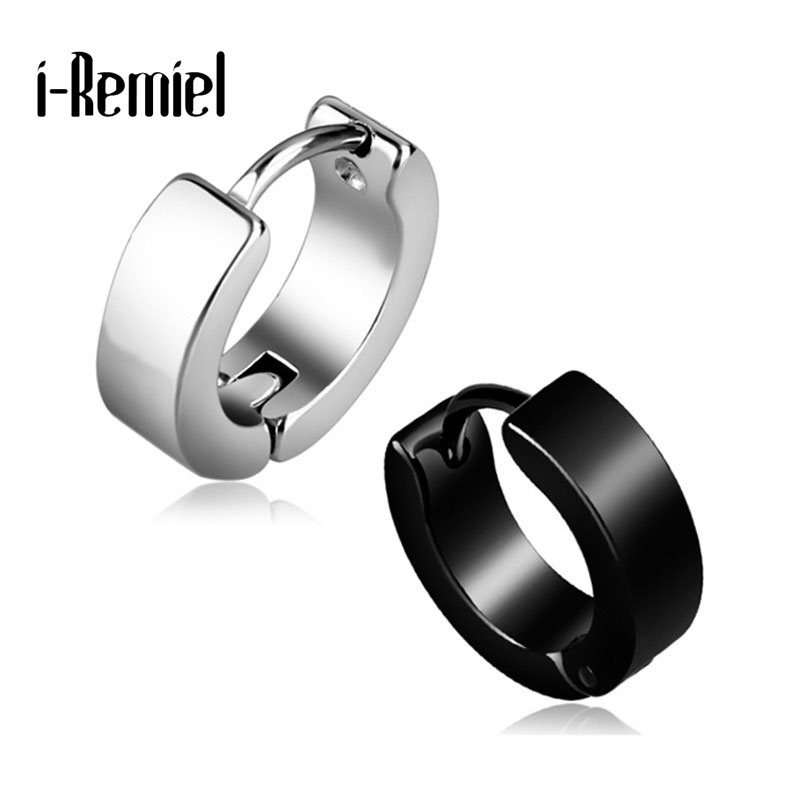 Anti allergic titanium steel buckle tide Korean fashion stainless steel earring punk male and female buckle