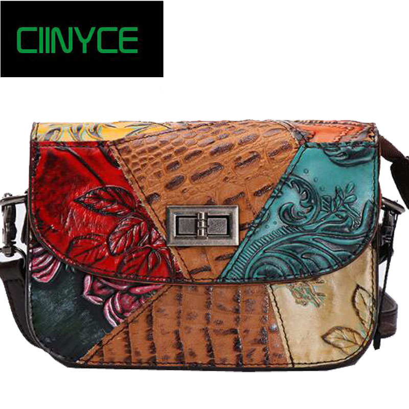 Genuine Leather Women Patchwork Shoulder Small Nature Cow Skin 2018 Messenger Bag Woman Sac a Main Female Handbag Ladies esufeir brand genuine leather women handbag cow leather patchwork shoulder bag fashion women messenger bag tote bags sac a main
