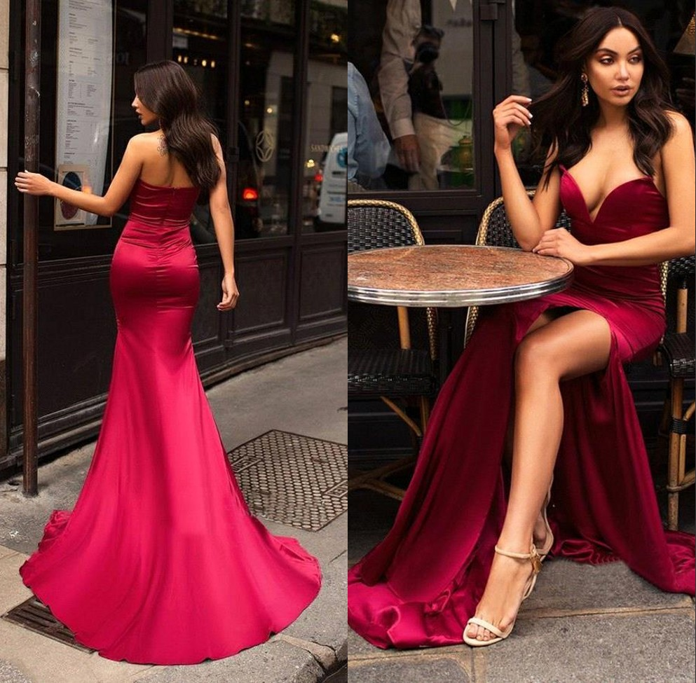 Custom Made Burgundy Side Slit Sweetheart Sexy   Evening     Dresses   Long 2019 Satin Prom   Dresses   Formal Party Gown Robe de soiree