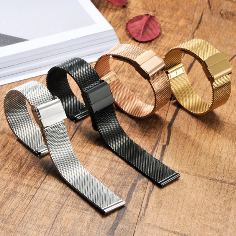 цены 12-22mm Milanese Watchband Universal Stainless Steel Metal Watch Band Strap Bracelet Silver Black Rose Gold