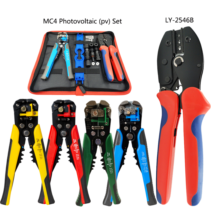 Photovoltaic Solar MC4 Connector crimping plier set2.5 6.0mm2 AWG14 10 electrician multifunction Wire Stripper hand tools-in Pliers from Tools