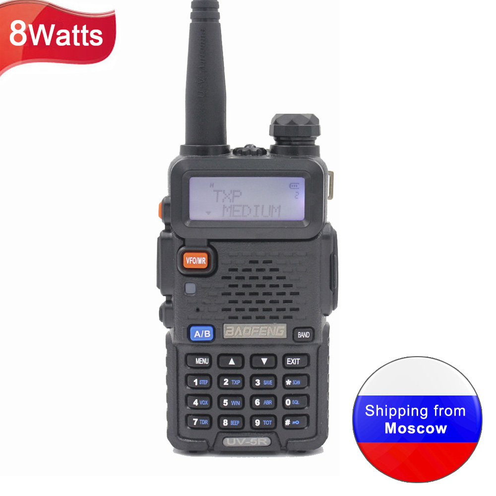 BaoFeng UV-5R 8W Dual Band 136-174MHz & 400-520MHz Walkie Talkie FM VOX UV-5R Ham Radio Dual Display