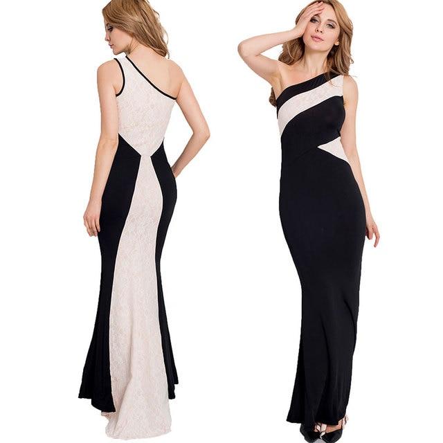 buy popular 5eb3e 4b3f8 US $19.74 |2017 Nuove donne di estate Lungo Sexy Vestito Aderente Una  Spalla bianco e nero Classico Da Sera Occasioni Speciali Formal Dress Abito  Del ...
